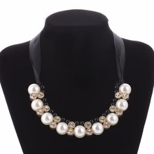Party Dazzle Noble Multilayer Beads Chain Romantic Choker Necklace Simulated Pearl Fashion Jewelry