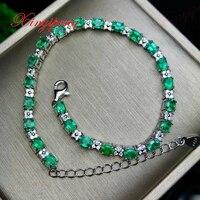 925 серебряные инкрустированные натуральный изумруд браслеты Дизайн красивый