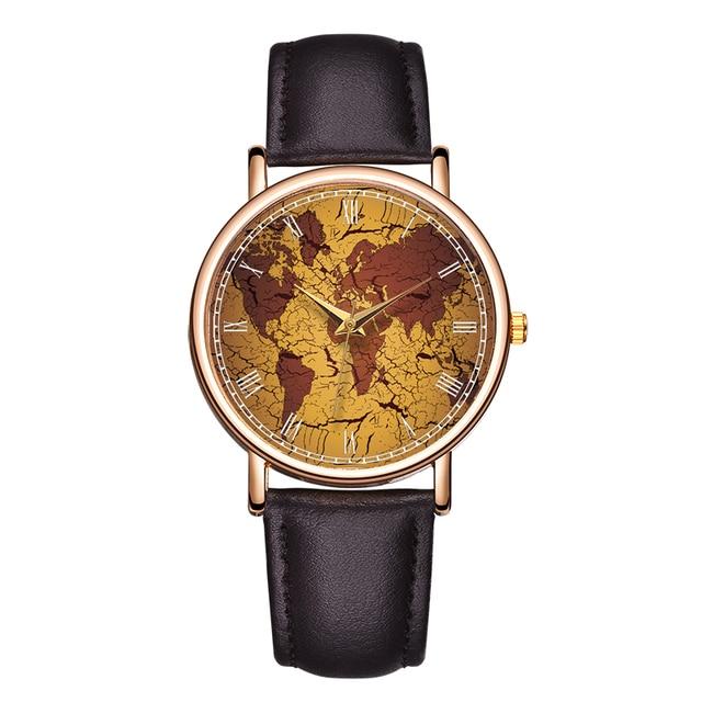B-9076 Fashion World Map Hand Watch PU Leather Retro Design Mens Bracelet Watch