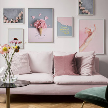 Pink Flower Paris Tower Crystal Girl Landscape Wall Art Canvas Painting Nordic Posters And Prints Pictures For Living Room