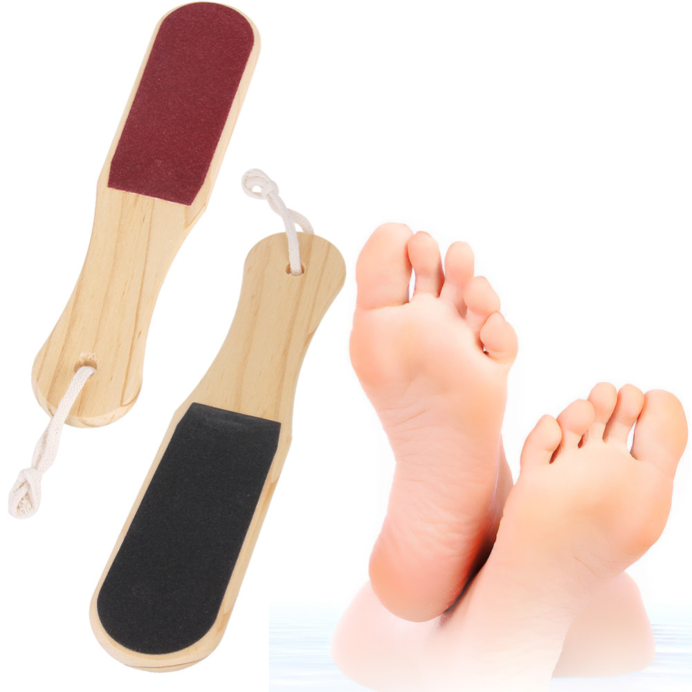 Wooden 2 Pcs/Set Foot File Sand Paper Dead Skin Removal Toe Exfoliator Heel Cuticles Exfoliating Scrub Feet Care Tool W