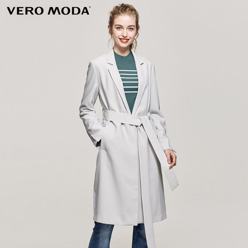 Vero Moda Brand 2018 NEW one button turn-down collar side pocket split sleeve solid color regular women   trench   coat  317321527