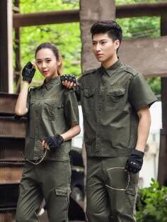 Short sleeve camouflage work suit men and women summer military uniform special soldiers fan training wear breathable wear - res чайные принадлежности fan work geming