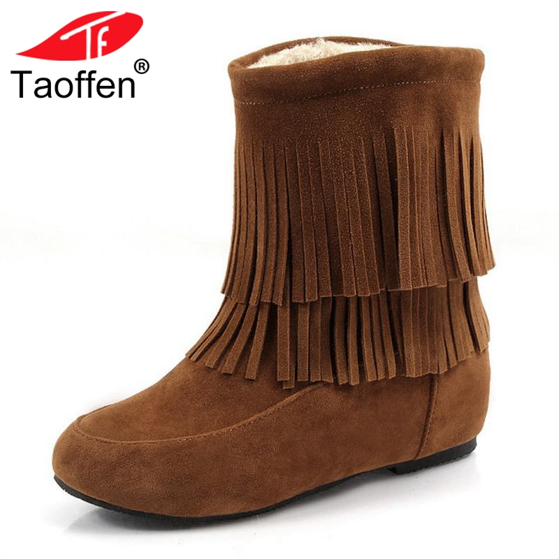 Taoffen Women Plush Flats Boots Fringes Inside Fur Round Toe Winter Shoes Women Mid Calf Snow Boots Party Shoes Size 33-45 taoffen women genuine leather flats snow boots women metal buckle mid calf boots warm fur shoes for women footwears size 34 39