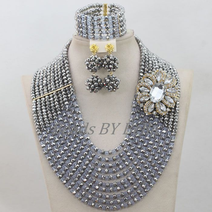 10 Layers Nigerian Traditional Beads African Costume Wedding Jewelry Set Silver Crystal Necklace Free Shipping ABF685 In Sets From