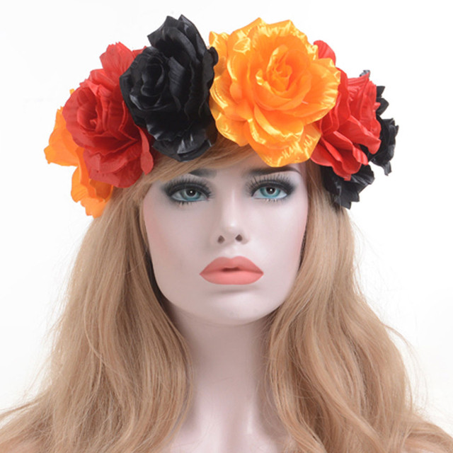 Women Flower Hair Garland Crown Headband Floral Wreath women s Hairband  Blue  Black  Green  Yellow popular headbands for women 2f31263b558