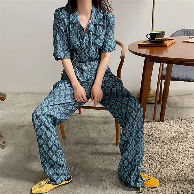 2019 Summer Casual   Jumpsuit   Women Chiffion Loose Elastic Waist Diamond Pattern Fashion   Jumpsuits