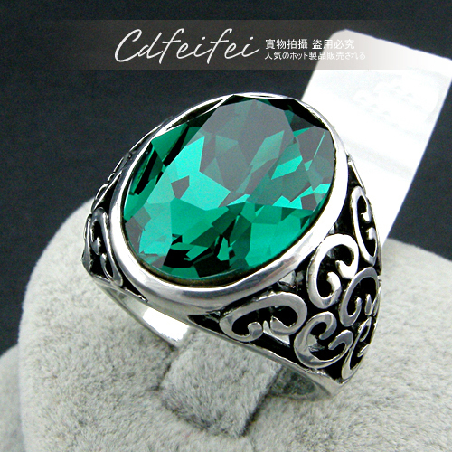 New Synthetic Emerald Cool Rings For Men Jewelry Women