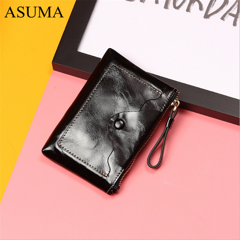 Women Bag Oil Wax Women 39 s Leather Handbags Luxury Lady Wrist Bag Women Coin Purse Cowhide Hasp Open Quality Retro Short Wallets in Wallets from Luggage amp Bags