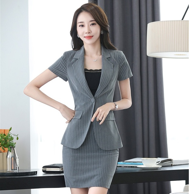 Summer Short Sleeve Formal Blazers Suits With Jackets And Skirt 2017 Office Ladies Beauty Salon Outfits Work Wear Skirt Suits