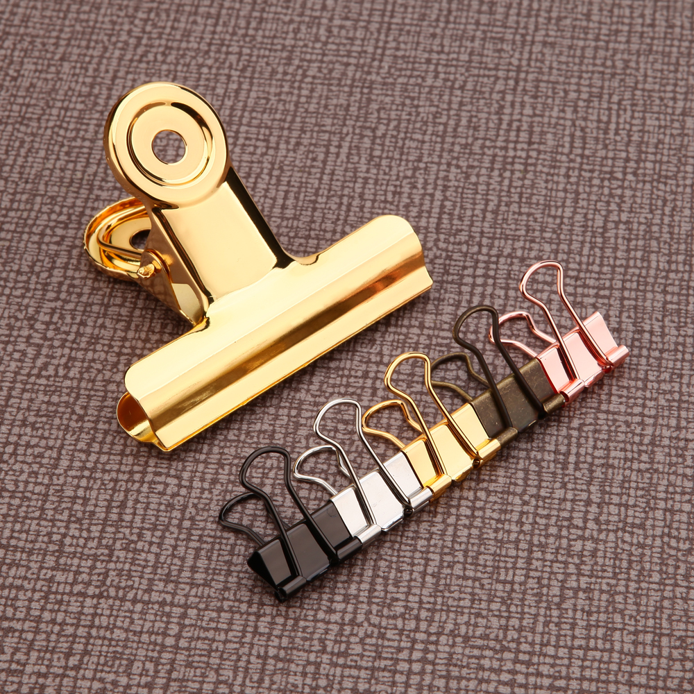 2PC Solid Colourful Metal Hollow Long Tail Clip, Bill/invoice Filofax Binder Clips Stuffs-mint Rose Gold Bulldog Clip