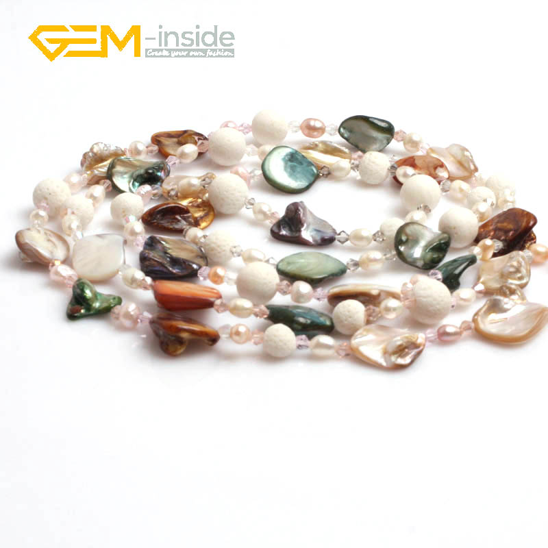 2017 Fashion6 14mm shell Necklace Natural Freshwater Pearl Necklace Jewelry For Women Best Gift Party Free shipping Gem insinde