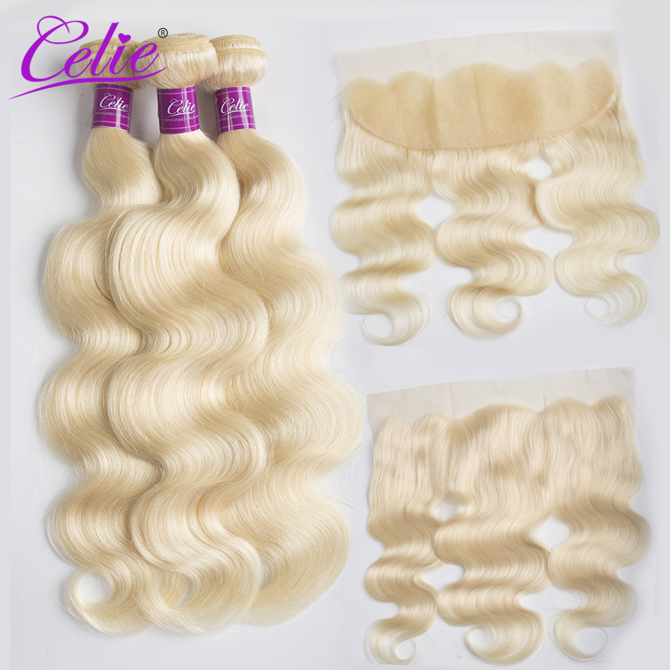 Celie Hair Brazilian Body Wave 613 Blonde Bundles with Frontal Remy Human Hair 3 Bundles With