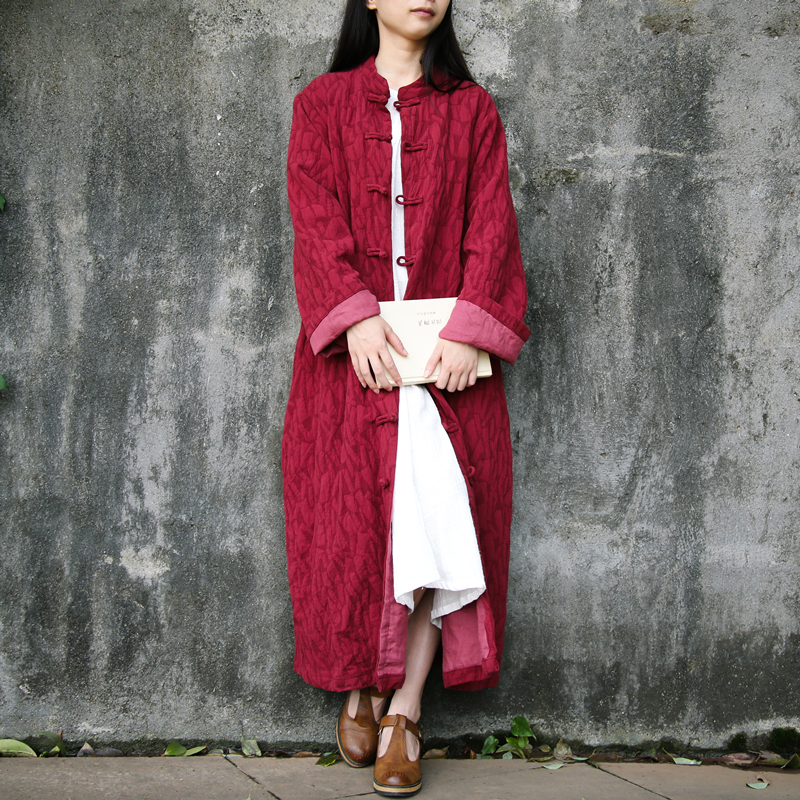 Chinese Garment Jacquard Cotton   Trench   Coat Women Long Coats Thick Windbreaker Vintage Overcoat Bayan Kaban Cappotto Donna