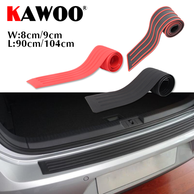 KAWOO Cars Universal Rubber Rear Guard Bumper Protector Trim Cover Sill Mat Pad Sticker For Vehicle Auto Car-Styling Accessories kawoo for skoda octavia fabia yeti rapid roomster citigo rubber rear guard bumper protect trim cover sill mat pad car styling
