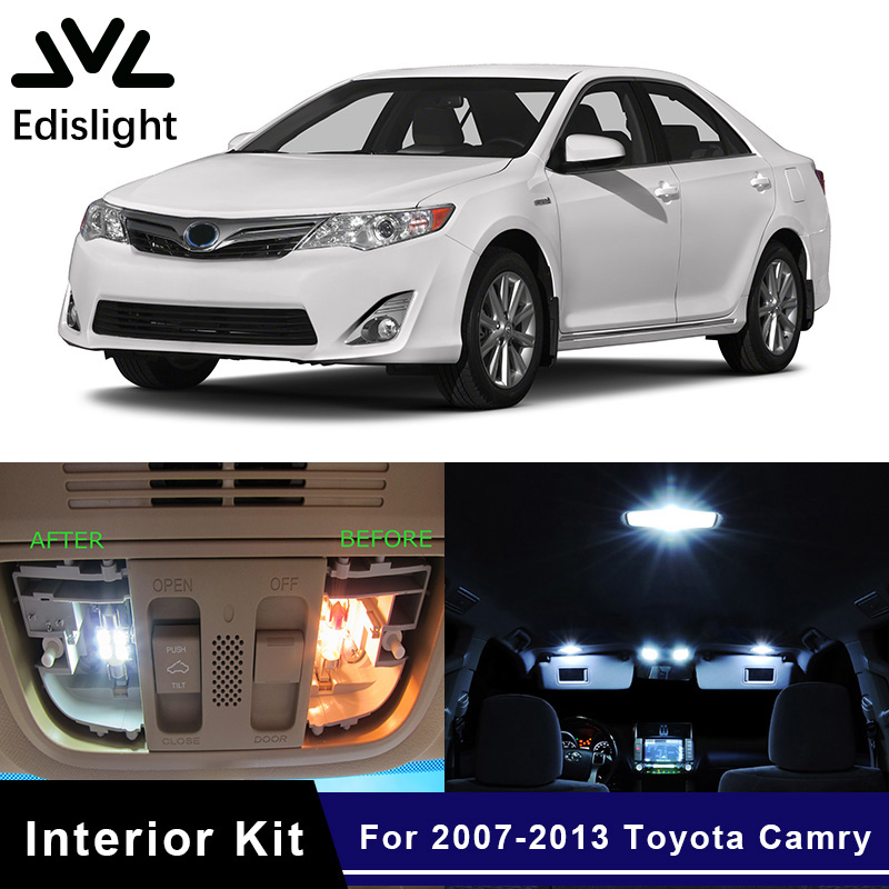 Edislight <font><b>10Pcs</b></font> White Ice Blue <font><b>Canbus</b></font> LED Bulbs Interior Package Kit For 2007-2013 Toyota Camry Map Dome Trunk Door Light image