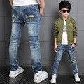 Autumn Full Length Skinny Boys Jeans Light Distrressed Kids Denim Trousers Light Wash Cowboys Roupas Infantis Pants 16 Years