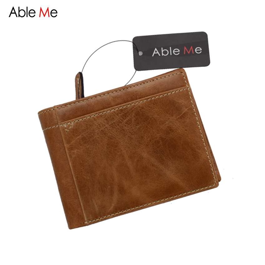 ФОТО AbleMe Two Folded Short Wallet Multifunction For Card Holder Fashion Oil Leather Purse For Men And Women Wallet With Coin Pocket