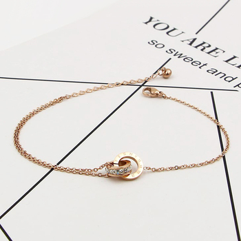 Fashion Rose Gold Color Beautiful Anklet Double Circle Chain Roman Numeral And Crystal Anklet Woman Gift Stainless Steel Jewelry