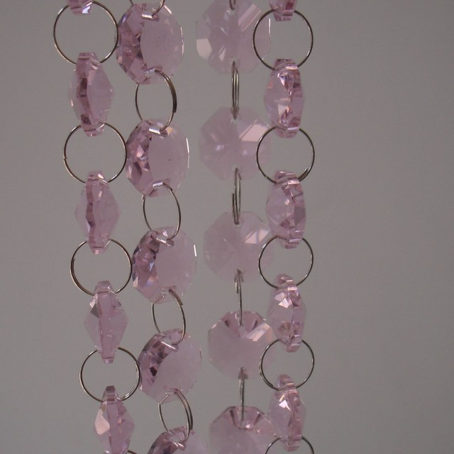 Free 10m Lot Pink Crystal Octagon Beads Diy Garland Strands Chandelier Parts