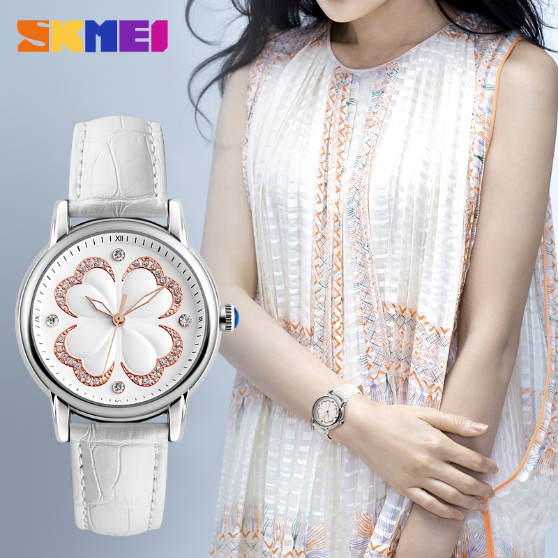 SKMEI Women Fashion Watches Luxury Brand Leather Strap Quartz Watch Ladies Waterproof Casual Dress Wristwatches Relogio Feminino casual women fashion watch lady dress wristwatches quartz clocks women leather strap watches relogio clasiic sport gift g031