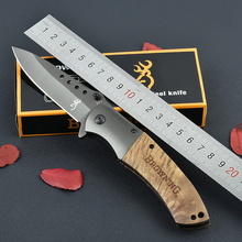 JITADAO Titanium Hunting Knife Survival Knives Folding Blade Tactical Pocket Knife Wood Handle 4 Holes