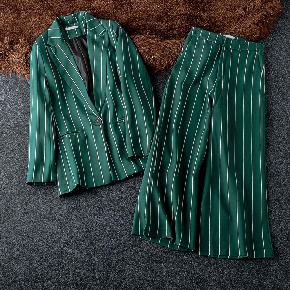 Fashion Office Lady Blazer Women Wide Leg Pant 2019 New Sale One Button Stylish Suit 2 Piece Set For Woman Slim Suits Pants Sets