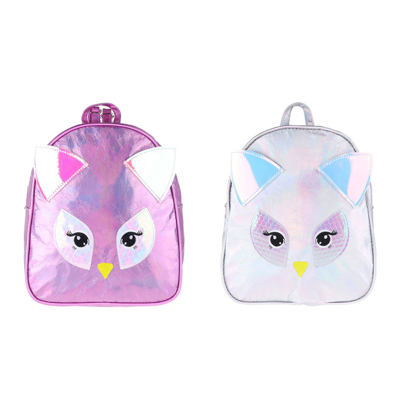 Fashion Girls Leather Backpack Women Cartoon Bagpack Shiny PU Leather Owl Design with Ears Girls Shoulder Travel Bag Schoolbag