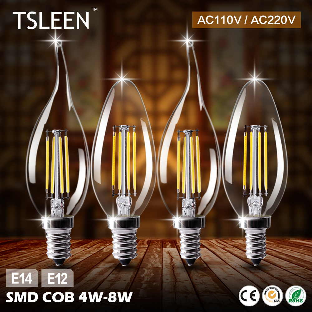 TSLEEN Cheap!LED Filament Candle Light Bulb E14 220V 4W 8W C35 Edison Bulb Retro Antique Vintage Style Lamp Cold White WarmWhite