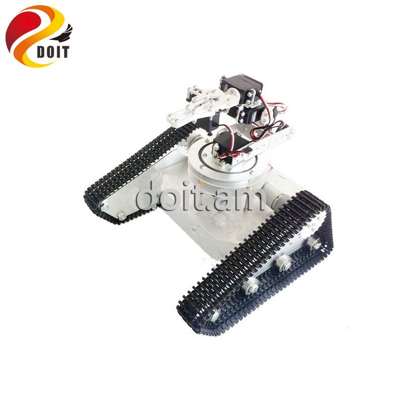 DOIT Obstacle-surmounting Tank Car Chassis with 6 DOF Robot Arm/ High Torque Metal Structure and Metal Mechanical Claw official doit 5dof robot arm mechanical claw 5pcs high torque servos large metal base thicker all metal plate robot parts