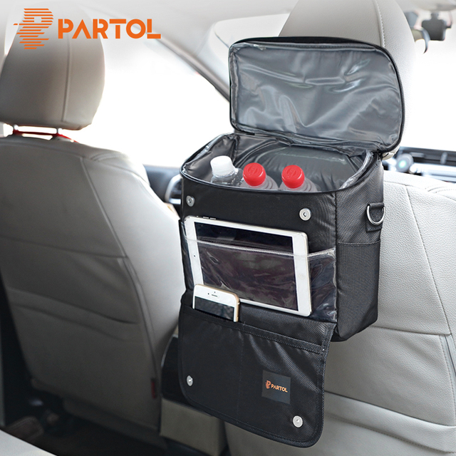 Partol Multi-Function Car Storage Bag Universal Black Organizer Box for Backseat Automobile Stowing Tidying Picnic Cooling Bag