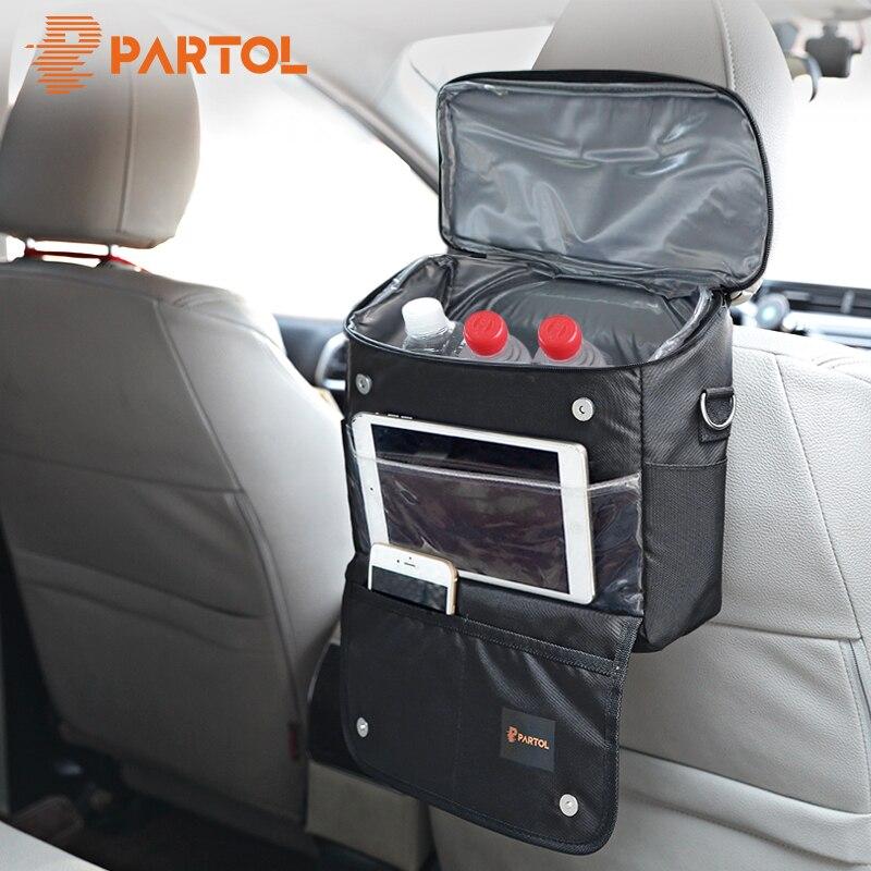 Partol Multi-Funktion Auto Lagerung Tasche Universal Schwarz Organizer Box für Rücksitz Auto Verstauen Aufräumen Picknick Kühlung Tasche