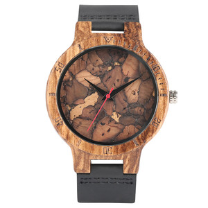 Image 2 - אופנתי Les Feuilles Mortes דפוס פנים עץ שעונים עבור גברים ונשים בציר בעבודת יד עץ זכר נקבה Quarzt שעון מתנה