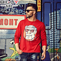 Casual Big Tall Male Clothes 2016 Fall New Cotton O-neck White Black Grey Red Print Funny T shirts For Men 1039Txu