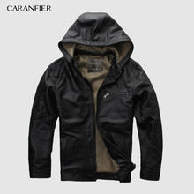 CARANFIER 2019 New Men Black Hooded Cow Genuine Leather  Jacket 100% Real Cowhide Casual Winter Russia Coats DHL Free Shipping