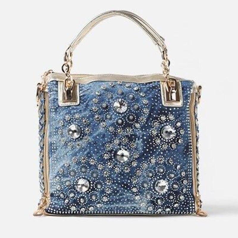 ФОТО Designer Bucket Women Messenger Bags Denim Canvas Crossbody Bags For Girls Shoulder Bags Ladies Handbags Chain Strap Flap