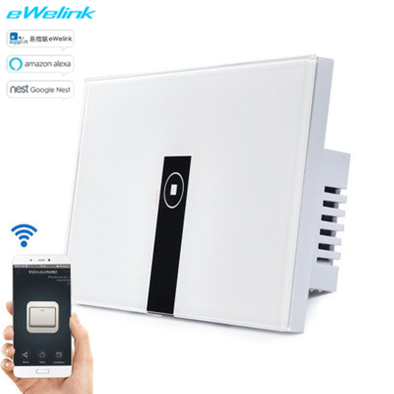 US Standard eWelink 1/2/3Gang Wifi Control Switch via Android and IOS Wireless Control Light APP Switch Tempered glass panel ewelink us type 2 gang wall light smart switch touch control panel wifi remote control via smart phone work with alexa ewelink
