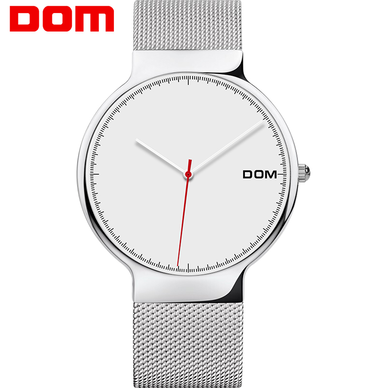 все цены на DOM Relogio Masculino Simple Casual Watch Men Luxury Stainless Steel Men's Watch Mesh Band Quartz Wristwatches Dress Male Clock