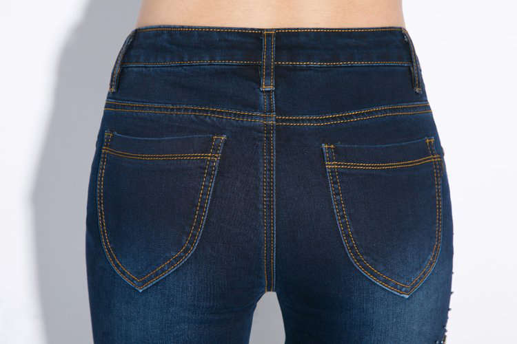 KSTUN Autumn Woman Jeans Embroidered High Waist Stretch Beading Flared Pants Sexy Ladies Push Up