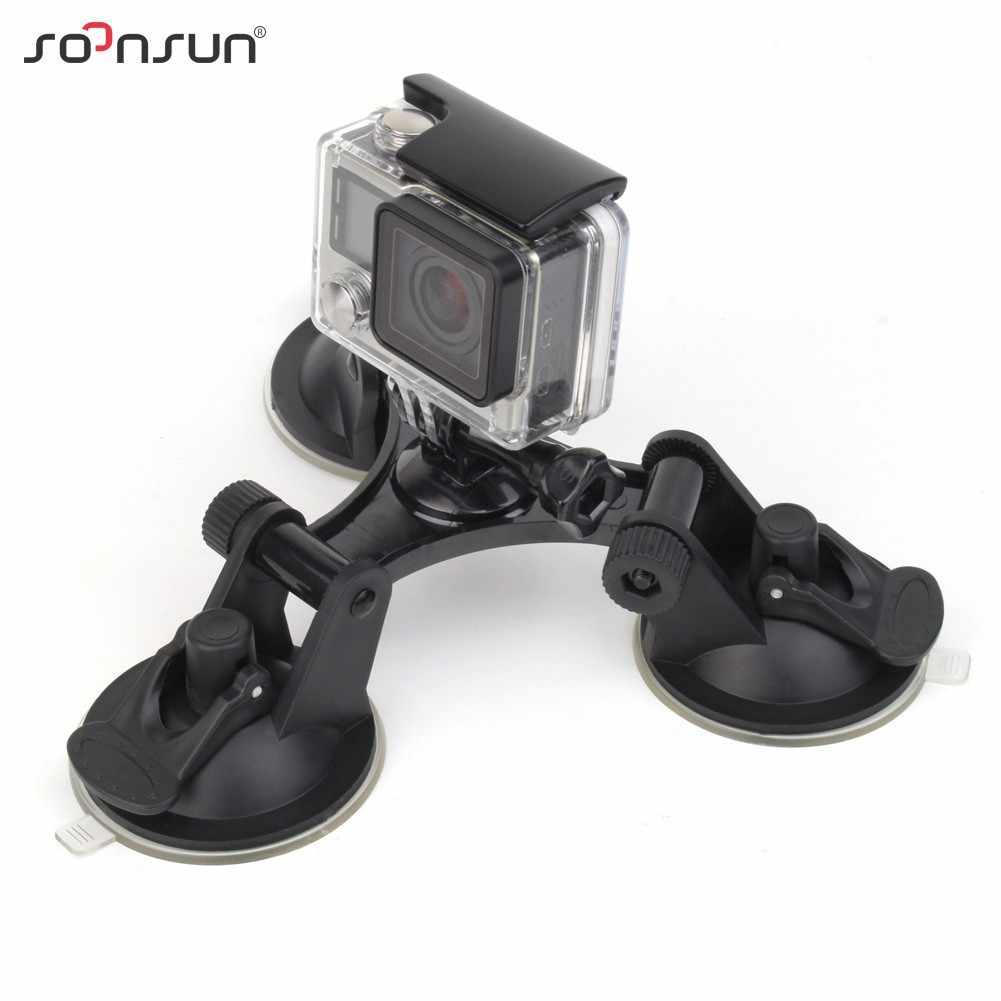 SOONSUN przednia szyba samochodu potrójne zasysanie próżniowe uchwyt na kubki mały rozmiar frajerem dla GoPro Hero 8 7 6 5 4 3 dla DJI OSMO Action dla Yi