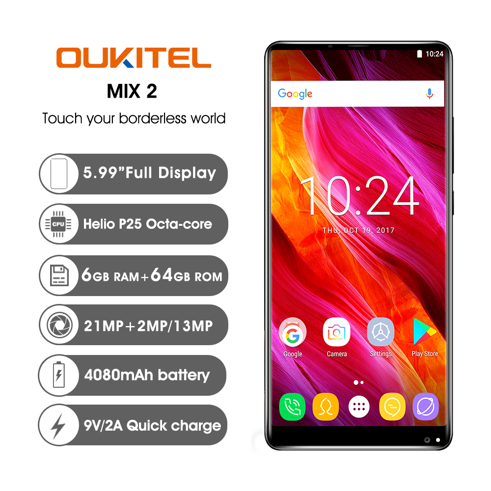 "OUKITEL MIX2 6.0"" 18:9 Display 6G RAM 64G ROM 4080mAh 5V/5A Quick Charge MTK6757 Fingerprint NFC Face ID Quad Cameras Smartphone"