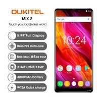 OUKITEL MIX2 6.0 18:9 affichage 6G RAM 64G ROM 4080 mAh 5 V/5A Charge rapide MTK6757 empreinte digitale NFC Face ID Quad caméras Smartphone