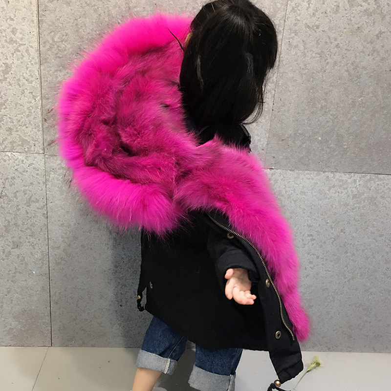 child Real Fox fur Parka Winter Jacket Natural Fox Fur Lining Parka Coat Real Large Raccoon Fur Collar Coat boy girls Parka