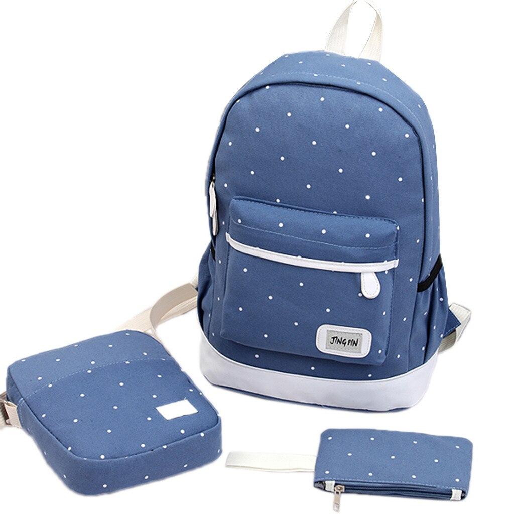 3PC Set Fashion Women Backpack Canvas School Shoulder Bag Book Bags Simple Spot Satchel Rucksack Travel Hiking Bag