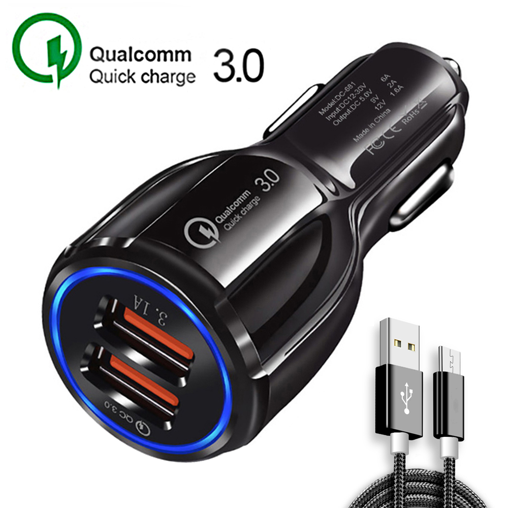 2 ports Quick Charge 3.0 car charger Dual charging micro usb Mobile phone cable For iphone Samsung s9 Huawei xiaomi Fast charger