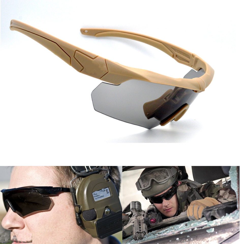Military Shooting Sunglasses Tactical Polarized Goggles With Men's Sun Glasses Hiking Camping  UV 400 3 Lens Eyewear