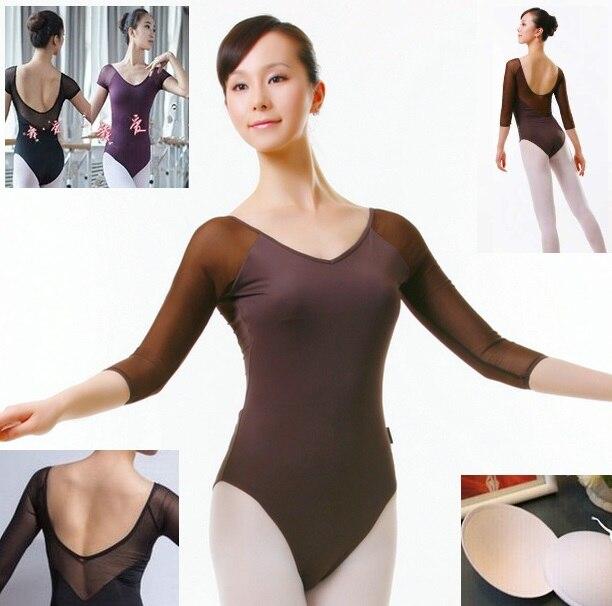 free shipping black green 5 colors Elegant Sexy Womens Adult rhythmic Gymnastics Dance Ballet Mesh Leotard for women girls