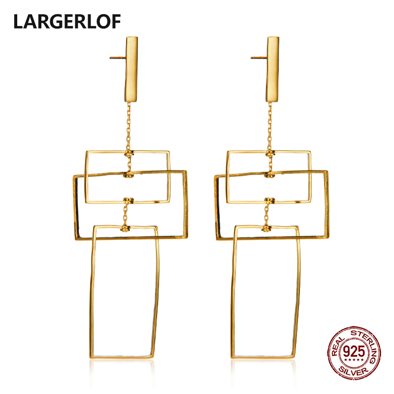 LARGERLOF Earrings Silver 925 Women Dangle Earrings White Silver 925 Jewelry Geometric Earrings For Women ED45108