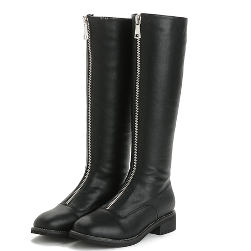 2018 Autumn and winter new leather long crude with the boots zipper wild women boots knight boots