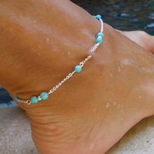 Summer Turquoise Beads Silver Plated Chain Anklet  Foot Jewelry for women